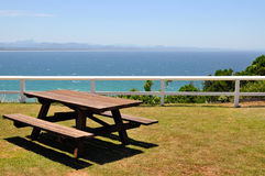 Ocean view with picnic table Stock Photo