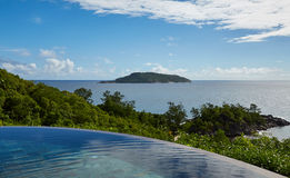 Ocean view from pool, Seychelles Royalty Free Stock Photo