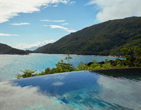 Ocean view from pool, Seychelles Royalty Free Stock Image