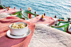 Ocean view restaurant royalty free stock images