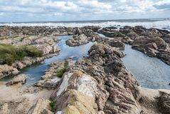 Ocean View with rocks and lakes royalty free stock photo