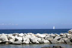 Ocean view. Sorrento beach in Italy with blue sky background Royalty Free Stock Photography