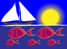 Ocean view in the sun. Conceptual illustration of a boat on the ocean with sun and fish Stock Images