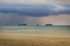 Ocean view in Thailand. Rain storm coming over ocean. Big rainy clouds over ocean. Rain storm on a beach. ocean view in Thailand Royalty Free Stock Photography