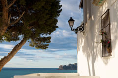Ocean view. Traditional whitewashed house with ocean view in Altea, Costa Blanca, Spain Stock Photo