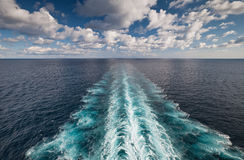 Ocean view from cruise vessel with wake trace Stock Image