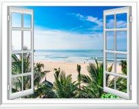 Ocean view window paradise royalty free stock photos