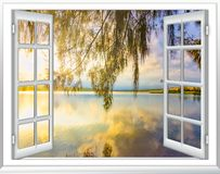 Ocean view window paradise royalty free stock photography