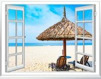 Ocean view window paradise stock photo