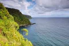 Ocean views and cliffs from Hana highway Royalty Free Stock Photo
