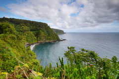 Ocean views and cliffs from Hana highway Royalty Free Stock Image