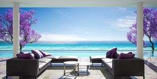 Ocean villa, luxury house with pool and sea view. 3d render vector illustration
