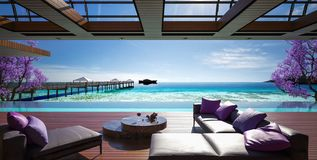 Ocean villa, luxury house with pool and sea view. 3d render royalty free illustration