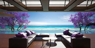 Ocean villa, luxury house with pool and sea view. 3d render stock illustration
