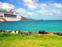 Ocean Village cruise ship in Tortola harbor in the West Indies Royalty Free Stock Photography