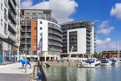 Ocean Village Marina in Southampton. The mixed use commercial and residential development of Ocean Village in Southampton on a warm summer's day stock images