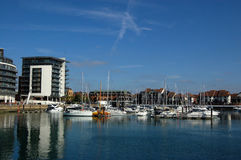 Ocean Village, Southampton. The marina at Ocean Village, Southampton on the south coast of Hampshire, England. The harbour used to be used by ocean going liners royalty free stock images