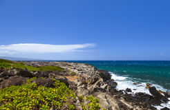 Ocean vista of rugged west coast of Maui Stock Images