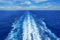 Ocean Wake from Cruise Ship. On bright summer day