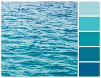 Ocean water texture with palette color swatches stock photo