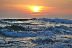 Ocean Water during Yellow Sunset royalty free stock photos