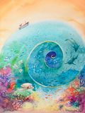 Ocean watercolors painted. Colorful illustration of ocean with coral reef ,fishes and boat.Picture created with watercolors stock illustration