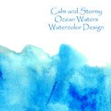 ocean waters blue watercolor Stock Photos