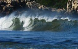 Ocean wave. Beautiful atlantic ocean wave breaking in the sun Royalty Free Stock Image