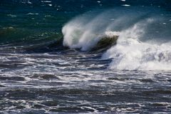 Ocean Wave. White cap of a wave breaking Stock Images