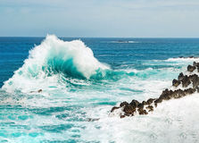 Ocean wave approaching the rock shore royalty free stock photography