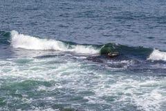 Ocean wave in Atlantic ocean off the coast of Rhode Island. Blue wave off the coastline of Jamestown stock photos