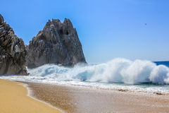 Divorce beach. High ocean waves on the famous beach of divorce in Cabo San Lucas, Baja California Sur, Mexico. Strong currents make the dangerous swim in these Stock Photo