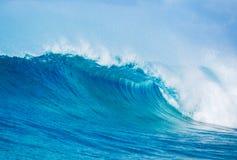 Ocean Wave. Blue Ocean Wave breaking down Stock Photo