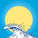 Ocean wave cartoon clip art. Asian style ocean wave with sun as background Royalty Free Stock Photos