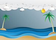Ocean wave and cloud paper cut style. With summer concept design background.Vector illustration Stock Photos