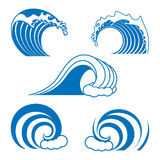 Ocean wave contour set. In blue color, isolated on the white background Royalty Free Stock Image