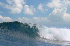 Ocean wave falling down. Rough white blue ocean wave falling down royalty free stock photo