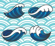 Ocean wave icons. stock illustration