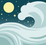 Ocean Wave. Illustration of a giant tsunami or tidal wave in the ocean against a night sky with stars and a full moon Stock Photography