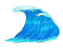 Ocean Wave Isolated. One big blue ocean wave illustration, wonderful surfing wave, isolated stock illustration