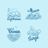 Ocean wave logo set. Emblems with waves, lighthouse and boat vector Stock Images