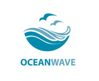 Ocean wave logo. Ocean logo with waves and seagulls stock illustration