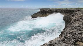 Ocean wave splash on the reef stock video footage