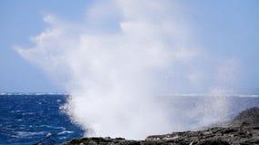 Ocean wave splash on the reef stock footage