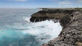 Ocean wave splash on the reef.  stock footage