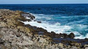 Ocean wave splash on the reef. Video stock footage