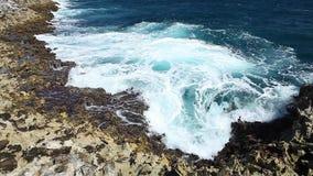 Ocean wave splash on the reef video.  stock video footage