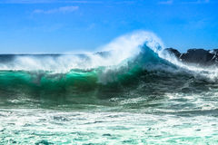 Ocean wave with spray. Haleiwa North Shore wave with ocean spray Stock Photography