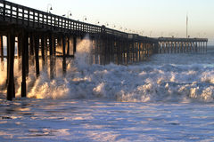 Ocean Wave Storm Pier Stock Images