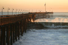 Ocean Wave Storm Pier Royalty Free Stock Image